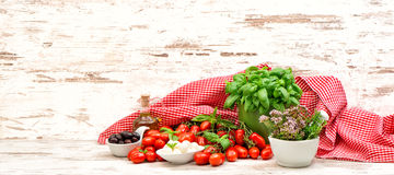 Tomatoes, basil, herbs, mozzarella and olive oil. food backgroun Royalty Free Stock Images