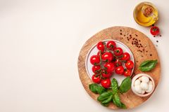 Tomatoes, basil, mozzarella cheese. Caprese salad ingredients. Cherry tomatoes, basil leaves, mozzarella cheese, olive oil and pepper mix on round wooden cutting Royalty Free Stock Photo