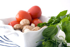 Tomatoes, Basil and Mushrooms. Red Roma tomatoes, fresh mushrooms and fresh green basil in a white dish against a high key white background Royalty Free Stock Images