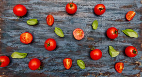 Tomatoes and basil  pattern. Stock Images
