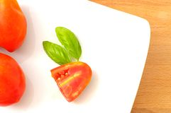 Tomatoes and basil in a square dish Stock Images