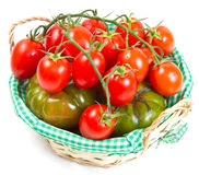 Tomatoes in a basket, isolated on white Stock Photography