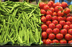Tomatoes and Beans, La Boqueria Barcelona Royalty Free Stock Photography