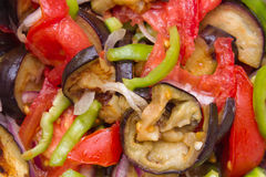 Tomatoes, bell pepper and fried eggplant Stock Image