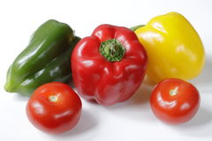 Tomatoes and bell peppers Stock Photography