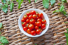 Tomatoes in bowl, on wicker picnic basket, with to Royalty Free Stock Image