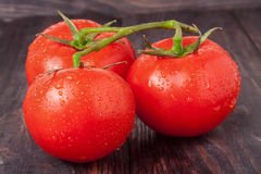 Tomatoes branch on a black wooden table with water droplets Royalty Free Stock Photography