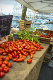 Tomatoes broad beans street market Royalty Free Stock Images