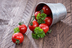 Tomatoes in a bucket Royalty Free Stock Image