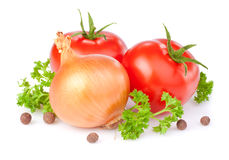 Tomatoes, bulbs of onion, parsley and Allspice Royalty Free Stock Images