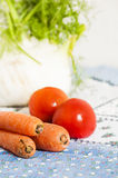 Tomatoes, carrots and fennel on blue tablecloth Royalty Free Stock Images