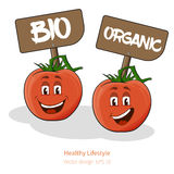 Tomatoes with cartoon look with face, signs Royalty Free Stock Images