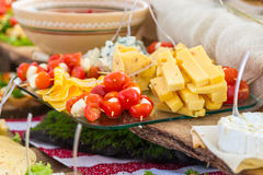 Tomatoes and cheese. Banquet feasts. Banquet table Royalty Free Stock Image