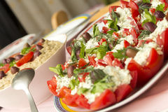 Tomatoes with cheese and eggplant salad Royalty Free Stock Photography