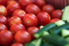Tomatoes cherry cucumbers royalty free stock photo