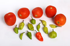 Tomatoes and Chillies Stock Photos