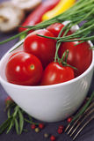 Tomatoes, chives and vegetables Royalty Free Stock Photos