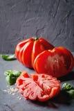 Tomatoes Coeur De Boeuf. Beefsteak tomato Stock Photo