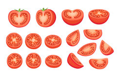 Tomatoes collection isolated. Collection of chopped tomatoes isolated on white background.  Tomato slices illustration Royalty Free Stock Photo