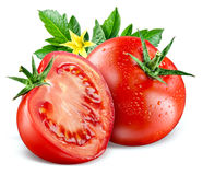 Tomatoes. Composition with leaves and flower isolated on white Royalty Free Stock Image