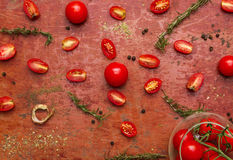 Tomatoes, cooked with herbs on the old wooden. Royalty Free Stock Image