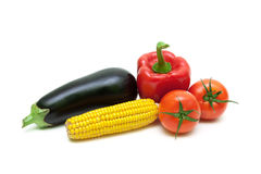Tomatoes, corn, eggplant and pepper closeup Stock Images