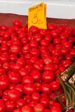 Tomatoes on a counter of shop Royalty Free Stock Photo