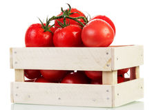 Tomatoes in crate Stock Image