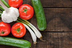 Tomatoes, cucumber, garlic and spring onions Stock Photos