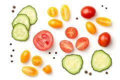 Tomatoes with Cucumber Isolated on White Background. Top view Royalty Free Stock Photography