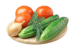 Tomatoes, Cucumber, Onion and Dill Royalty Free Stock Images