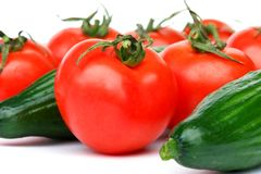 Tomatoes and cucumbers Royalty Free Stock Photos