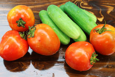 Tomatoes and Cucumbers Stock Photography