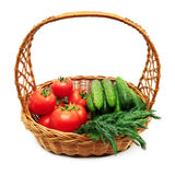 Tomatoes and cucumbers in a basket Stock Photo