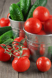 Tomatoes and cucumbers in buckets Royalty Free Stock Photo