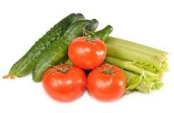 Tomatoes, cucumbers, celery Royalty Free Stock Photos