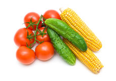 Tomatoes, cucumbers and corn isolated on white background Stock Photography