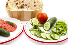 Tomatoes with cucumbers and dill Royalty Free Stock Image