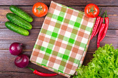 Tomatoes, cucumbers, onions, greens, Royalty Free Stock Image