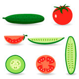 Tomatoes and cucumbers. Red tomatoes and ripe cucumbers. Great for design of healthy lifestyle or diet.Vector illustration Stock Image