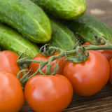 Tomatoes and cucumbers Stock Photo