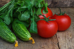 Tomatoes and cucumbers with salad on the background of wood.  Stock Images