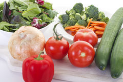 Tomatoes, Cucumbers, and Salad Vegetables Royalty Free Stock Images