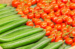 Tomatoes and cucumbers for sale Royalty Free Stock Photo
