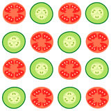 Tomatoes and cucumbers. Vector seamless pattern with red tomatoes and ripe cucumbers. Great for design of healthy lifestyle or diet. For wrapping paper, textiles Royalty Free Stock Images