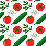 Tomatoes and cucumbers. Vector seamless pattern with red tomatoes and ripe cucumbers. Great for design of healthy lifestyle or diet. For wrapping paper, textiles Stock Photography
