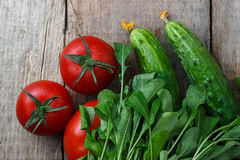 Tomatoes and cucumbers on a wooden background.  Stock Image