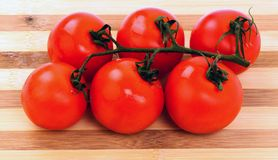 Tomatoes on a cutting board isolated on white background Stock Photography