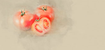 Tomatoes on a cutting board Stock Image