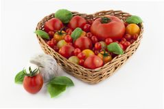 Tomatoes in heartshaped basket. Tomatoes in different sizes in heartshaped basket. White background. Garlic and basil royalty free stock photos